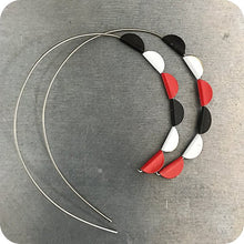 Load image into Gallery viewer, Red, Black & White Pennant Spiral Upcycled Tin Earrings