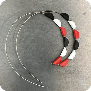 Red, Black & White Pennant Spiral Upcycled Tin Earrings