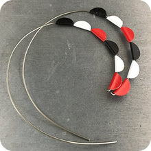 Load image into Gallery viewer, Red, Black & White Pennant Spiral Upcycled Tin Earrings 30th Birthday Gift