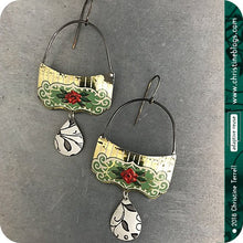 Load image into Gallery viewer, Red Roses on Green Upcycled Tin Earrings by Christine Terrell for adaptive reuse jewelry