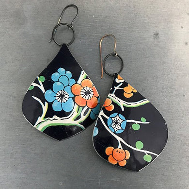 Midnight Blue Cherry Blossoms Teardrop Recycled Tin Earrings