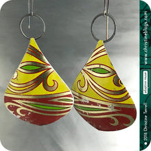 Load image into Gallery viewer, Red & Yellow Teardrop Recycled Fruitcake Tin Earrings Tin Anniversary Gift