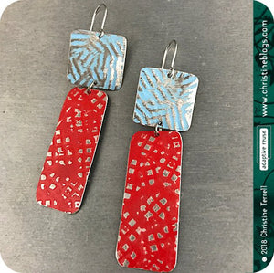 Red & Blue Zero Waste Rustic Tin Earrings