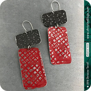 Deep Red & Midnight Recycled Tin Earrings 30th Birthday Gift
