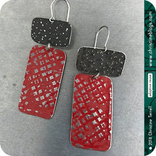 Load image into Gallery viewer, Deep Red & Midnight Recycled Tin Earrings 30th Birthday Gift