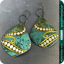 Load image into Gallery viewer, Jade Green & Gold Octopus Teardrop Tin Earrings