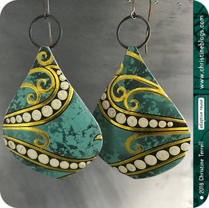 Jade Green & Gold Octopus Teardrop Tin Earrings