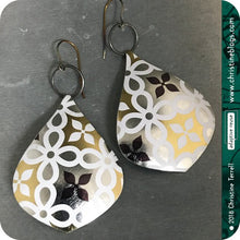 Load image into Gallery viewer, usilver gold and white recycled tin earrings by christine terrell for adaptive reuse jewelry