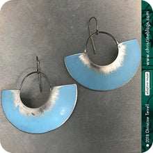Load image into Gallery viewer, Ice Blue & Silver Big Half Moon Recycled Tin Earrings