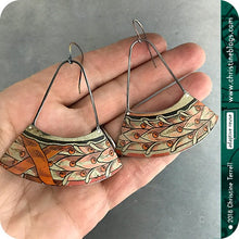 Load image into Gallery viewer, Pink Leaves Laurel Wreath Recycled Tin Fan Earrings