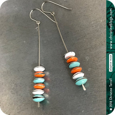 Tiny French Macarons Upcycled Tin Earrings by Christine Terrell for adaptive reuse jewelry