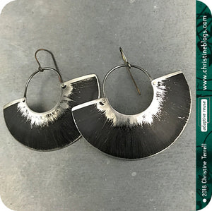 Black & Silver Half Moon Recycled Big Tin Earrings by Christine Terrell for adaptive reuse jewelry