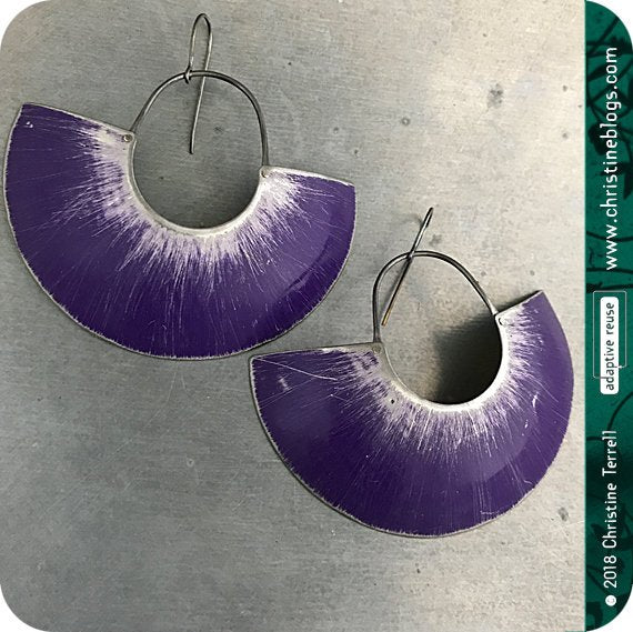 Purple & Silver Big Half Moon Recycled Tin Earrings 30th Birthday Gift
