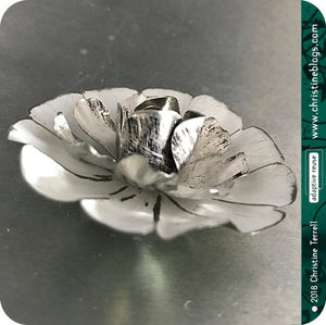 White Flower Blossom Upcycled Tin Brooch Tin Anniversary Gift