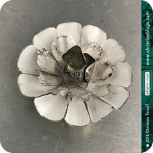 Load image into Gallery viewer, White Flower Blossom Upcycled Tin Brooch Tin Anniversary Gift