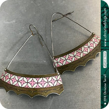 Load image into Gallery viewer, Pink & White Circle Flowers Scallop Edge Fan Recycled Tin Earrings