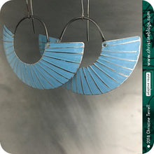 Load image into Gallery viewer, Silver Ice Blue Half Moon Recycled Tin Earrings