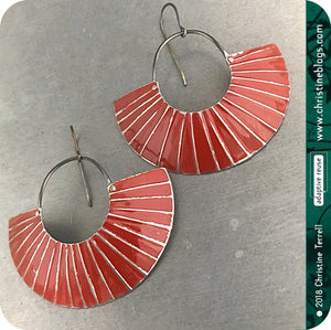 Deep Red Lined Crescent Moon Upcycled Tin Earrings