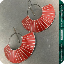 Load image into Gallery viewer, Deep Red Lined Crescent Moon Upcycled Tin Earrings