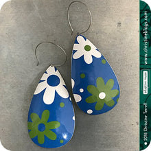 Load image into Gallery viewer, Mid Century Modern Green & White Flowers Tin Teardrop Earrings