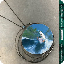 Load image into Gallery viewer, Circle Surfer Girl Upcycled Tin Necklace