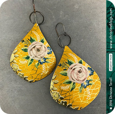 Vintage Mango & Golden Crackle Teardrop Upcycled Tin Earrings