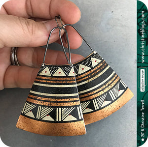 Black & Copper Tribal Design Tin Earrings