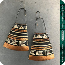 Load image into Gallery viewer, Black & Copper Tribal Design Tin Earrings