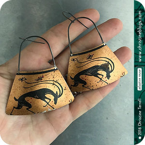 Black Antelope on Copper Zero Waste Tin Earrings by Christine Terrell for adaptive reuse jewelry