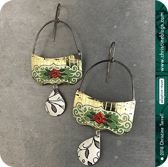 Green & Golden Filigree Red Rose Upcycled Tin Victorian Earrings