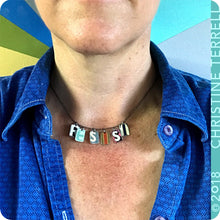Load image into Gallery viewer, Resist Upcycled Tin Necklace Ethical Fashion 30th Birthday Gift