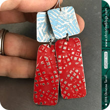 Load image into Gallery viewer, Red & Blue Zero Waste Rustic Tin Earrings