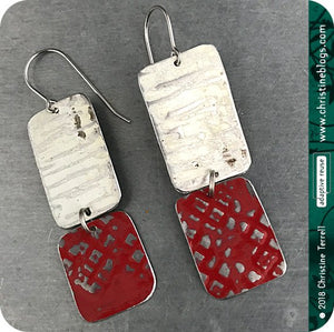 Red & White Rustic Zero Waste Tin Earrings