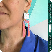 Load image into Gallery viewer, Cerise Pink & White Zero Waste Tin Earrings