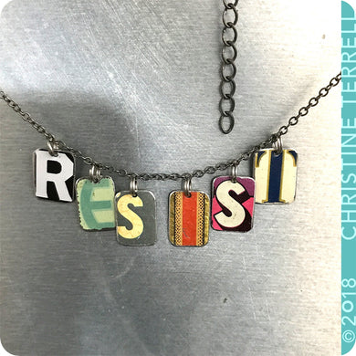 Resist Upcycled Tin Necklace Ethical Fashion 30th Birthday Gift