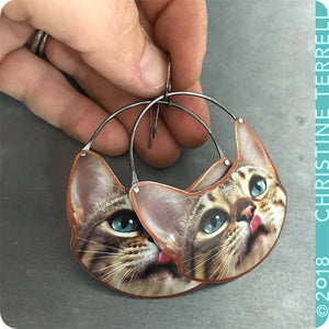 Happy Tabby Cats Upcycled Tin Earrings