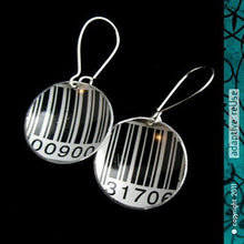 Load image into Gallery viewer, Black & White Barcode Tiny Dot Upcycled Tin Earrings 18th Birthday Gift