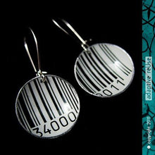 Load image into Gallery viewer, Barcode Tiny Basin Recycled Tin Earrings by Christine Terrell for adaptive reuse jewelry