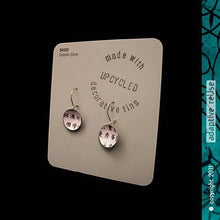 Load image into Gallery viewer, Kanji on White Upcycled Tiny Dot Tin Earrings 21st Birthday Gift