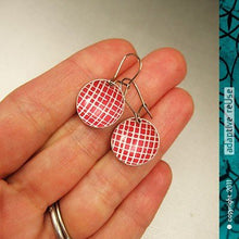 Load image into Gallery viewer, Red Picnic Blanket Tiny Dot Tin Earrings