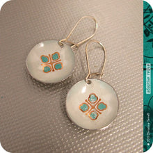 Load image into Gallery viewer, Teal & Gold Avon Tiny Dot Slow Fashion Tin Earrings