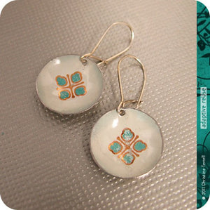 Teal & Gold Avon Tiny Dot Slow Fashion Tin Earrings