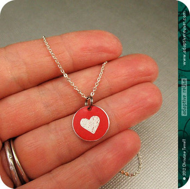 Tiny Etched Upcycled Heart Necklace
