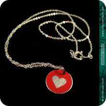 Load image into Gallery viewer, Tiny Etched Upcycled Heart Necklace