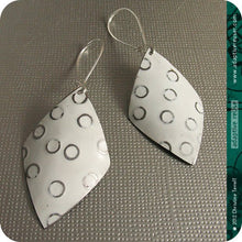 Load image into Gallery viewer, Silver Circles on Snowy White Diamonds Upcycled Tin Earrings