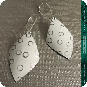 Silver Circles on Snowy White Diamonds Upcycled Tin Earrings