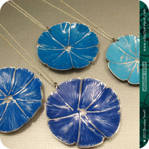 Blue Flower Zero Waste Tin Necklace