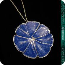 Load image into Gallery viewer, Deep Blue Flower Zero Waste Tin Necklace by Christine Terrell for adaptive reuse jewelry