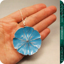 Load image into Gallery viewer, Blue Flower Zero Waste Tin Necklace