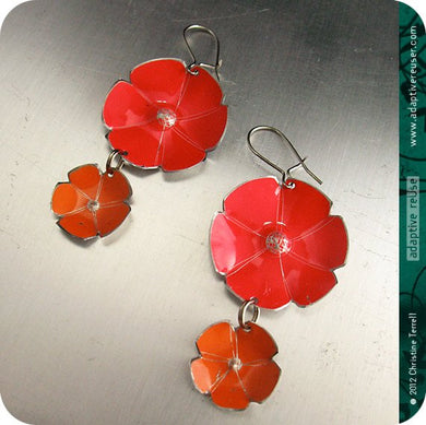 Red & Persimmon Orange Double Flower Ethical Tin Earrings 30th Birthday Gift